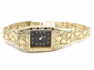 Details About 14k Yellow Gold Nugget Link Bracelet Geneve Diamond Wrist Watch 7 26 Grams