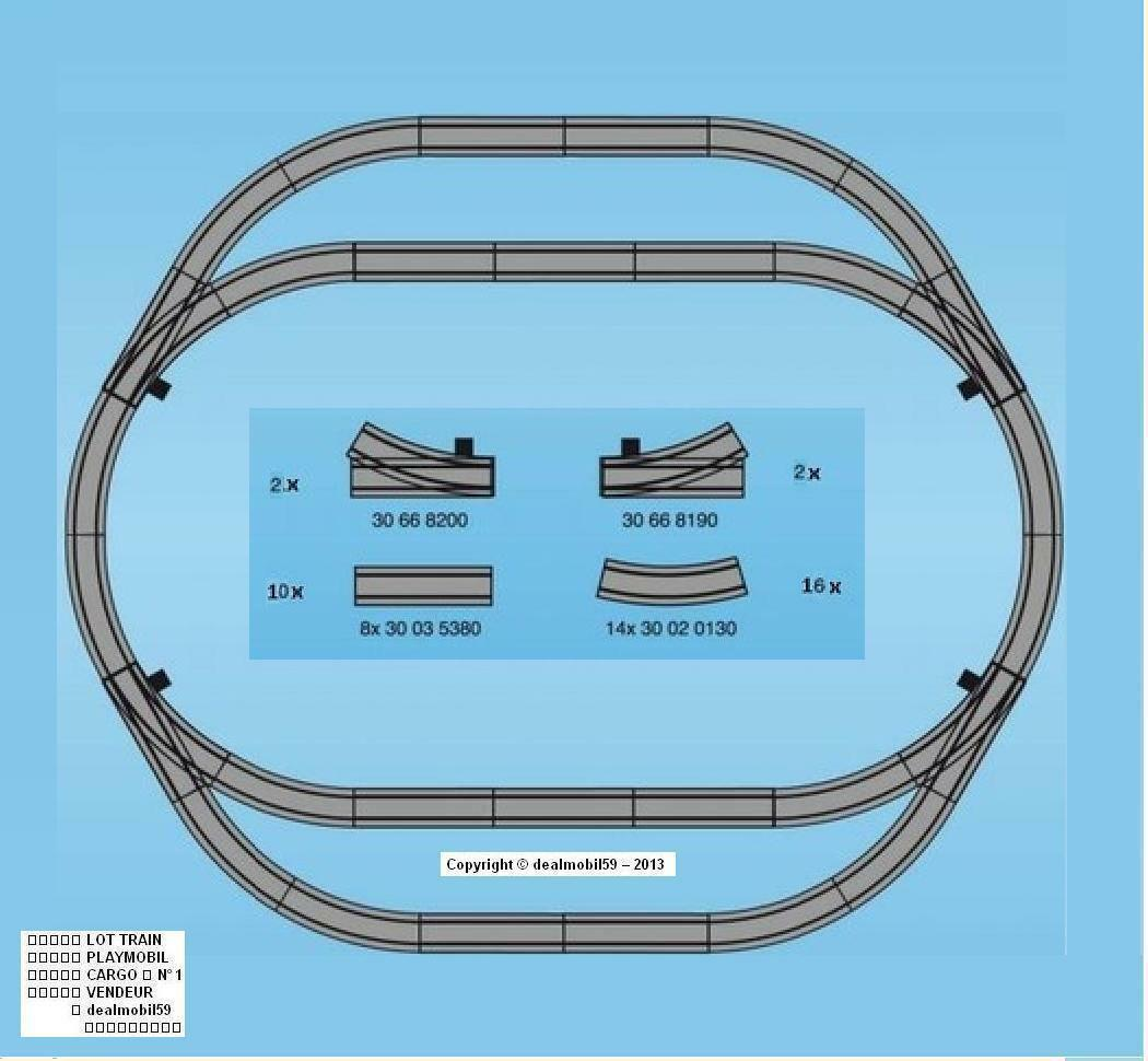 PLAYMOBIL® 4384 4385 30 RAILS = 10D 16C 2AD 2AG Train Auto Gare RC LGB Masse12 1E