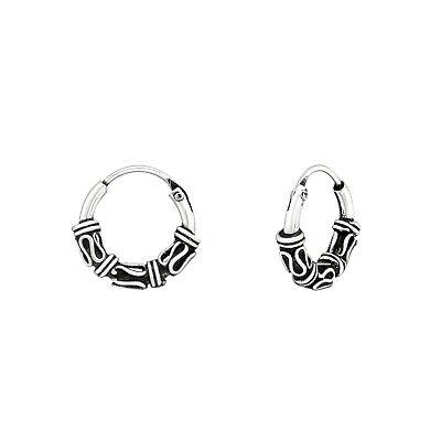 Pair 925 Sterling Silver 10mm Bali Hoop Sleeper Earrings Design 3