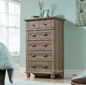 Rustic Dresser Chest Of Drawers For Bedroom Tall Wood Bureau Oak ...