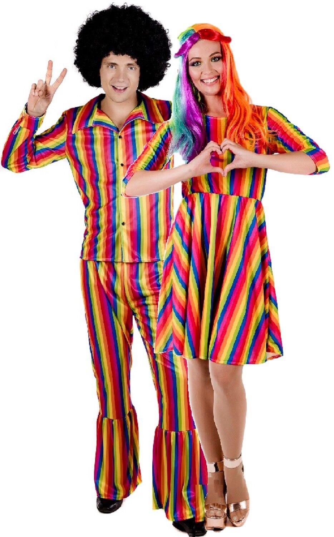 Couples Couples Couples Femmes et Hommes Arc-En-Ciel Vif Hippie DéguiseHommes t Fierté Robe Costume c0c235