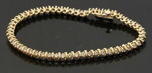 Heavy 14K gold elegant high fashion 1.65CTW diamond tennis bracelet