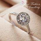 18K White Gold Plated Simulated Diamond Round Cut Engagement Wedding Halo Ring