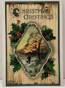 Christmas-Greetings-Holly-Berry-Country-Scene-A-Repro-of-1874-1895-Postcard-E10