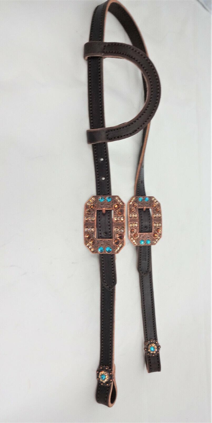 braun Bridle Leather One or Two Ear Headstall Horse Swarovski Crystal Conchos