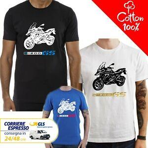 T-Shirt-BMW-R-1200-GS-uomo-Maglia-moto-nera-cotone-100-maglietta