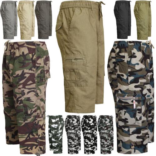 Mens 3//4 Shorts 2 in 1 Zip Off Elasticated Waist Cargo Combat Three Quarter Camo