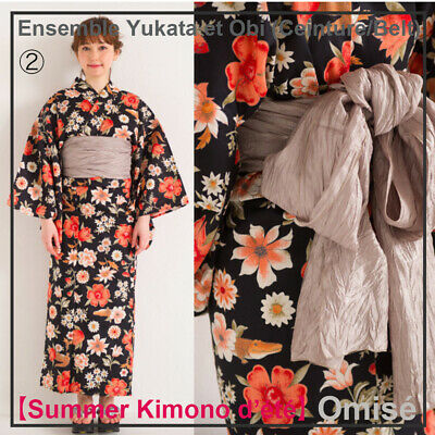 Attento Ensemble japanese Yukata & Obi (ceinture/belt)! One Size 152~168cm Made In Japan