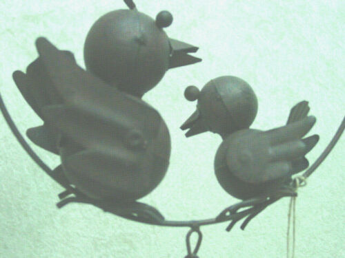 Details about  / Rustic Metal Mamma and Baby Bird Hangining Front porch Yard Art NEW