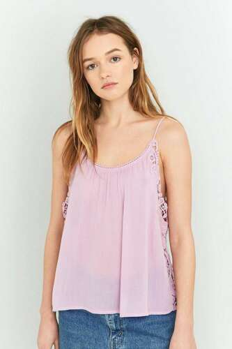 Urban Outfitters Purple Crochet Side Swing Cami Camisole Top UK XS RRP £36