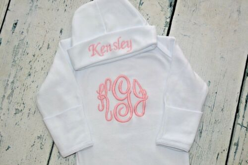 CUSTOM PERSONALIZED Baby Girl Gown and Hat  Circle Monogram Newborn Set NEW