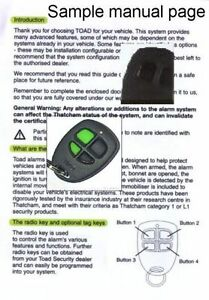 toad alarm and immobiliser user manuals ai606 a101cl a201tc and rh ebay ie Instruction Manual Operators Manual