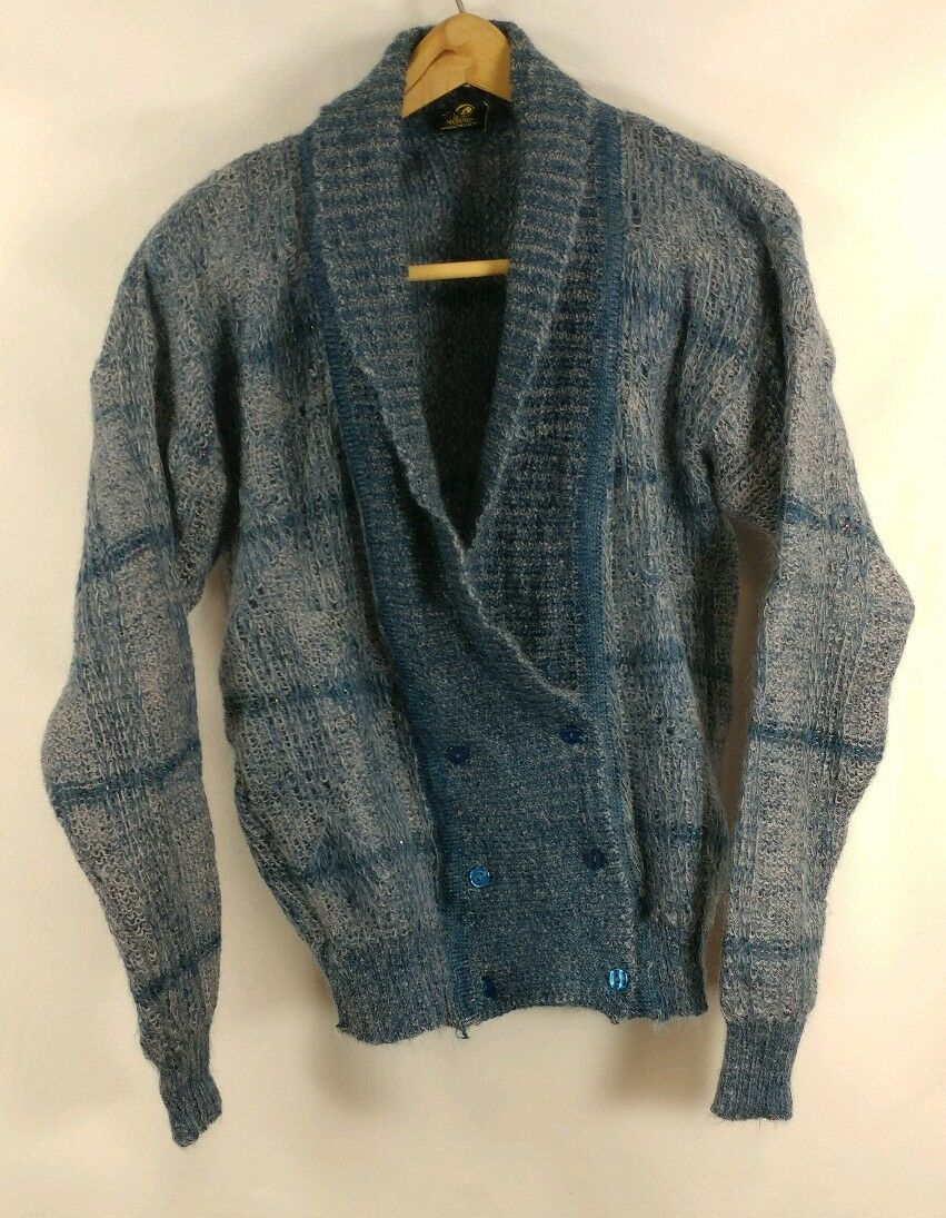 Vintage 90s Grunge Mohair Wool Fuzzy Distressed Unisex Cobain Sweater Cardigan