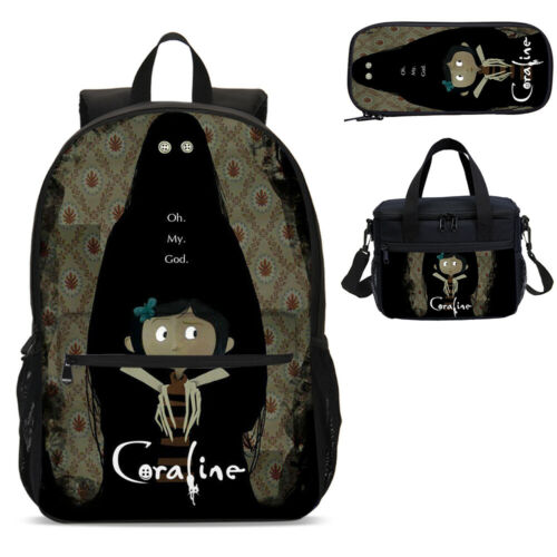 Clothes Shoes Accessories Bags Coraline Cartoon Kids Backpack Insulated Lunch Box Shoulder Bag Pencil Case Lot Baseo Co Uk