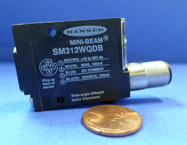 Banner SM312C2QD Mini-Beam Sensor 150mA Quick Disconnect 4 Pin 10-30V-DC