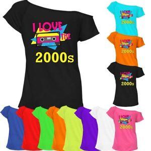 I Love The 2000 S Musique Imprimé T Shirt Top Femme Off épaule Rétro Tee 7520-afficher Le Titre D'origine Soyez Astucieux Dans Les Questions D'Argent
