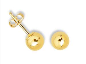 10k Yellow Gold Ball Stud Earrings Round Shiny High Polish Mens Womens Kids