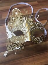 Masquerade Mask Venetian Filigree Gold/Silver Metal Diamonte Ball Prom Party