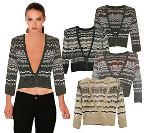 Ladies-Knitted-Zig-Zag-Crop-Top-Long-Sleeve-Crochet-Sweater-Button-Shrug