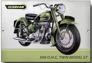 METAL SIGN.BRIT BIKES. SUNBEAM S7 NEVER NEVER NEVER GIVE UP YOUR.