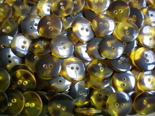 18mm 28L Yellow Tortoise Shell Effect 2 Hole Quality Craft Jacket Buttons #19