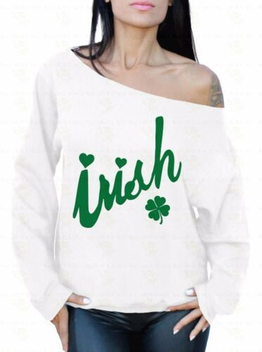 Irish Off The Shoulder Oversized Slouchy Sweater Sweatshirt St Patrick's Day G
