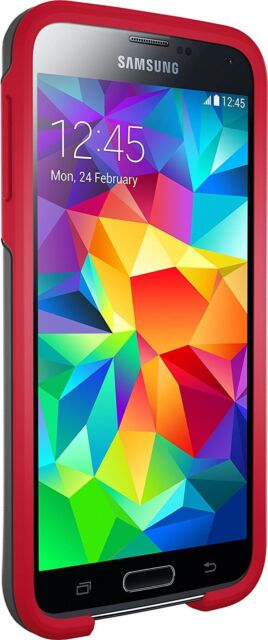 NEW  Otterbox SYMMETRY SERIES for Samsung Galaxy S5 GREY/RED