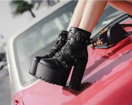 Women Punk Lace Up Buckle Strap Gothic Chunky Heels Platform Ankle Boots MOON