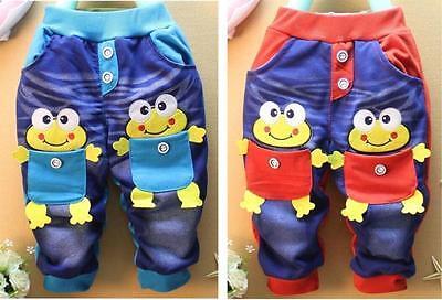 Kids Baby Boys Girls Frog Pocket Casual Leisure Sport Denim Jeans Trousers Pants
