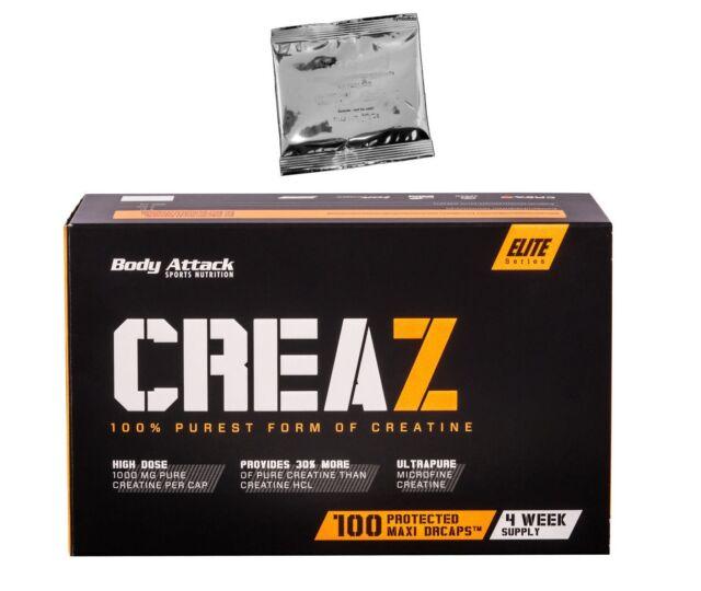 (14,92 Euro/100g) Body Attack CREAZ 100 Kapseln Creatin Caps + Probe gratis