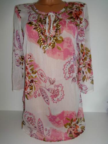 Cheer tunique 36-44 Chemisier Blouses shirt floral Hängerchen transparent NEUF