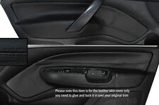 BLACK STITCH 2X FRONT DOOR CARD TRIM SKIN COVERS FITS SKODA OCTAVIA MK2 04-13