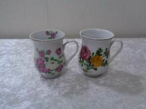 2-X-Design-Porcelaine-Tasse-Cafe-Fleurs-Fleurs-NOS