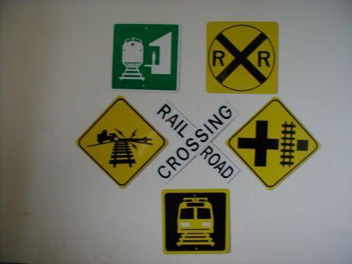 MINI  Railroad Train Crossing  traffic signs SET of 6 Signs  FREE SHIPPING