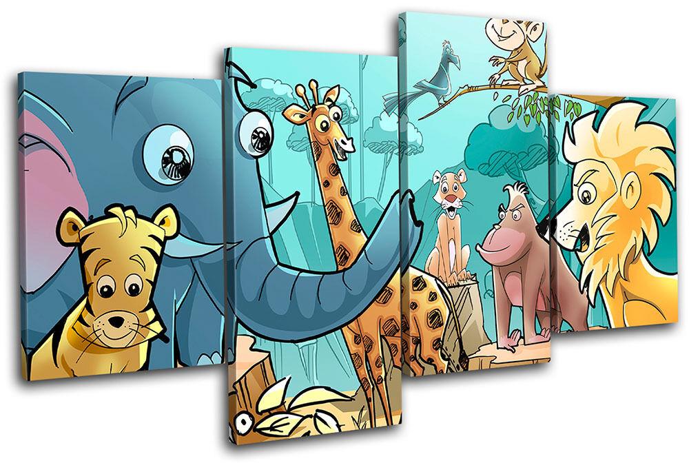 Jungle Animals  For Niños Room MULTI LONA pa rojo  Animals arte Foto impresion c479b3