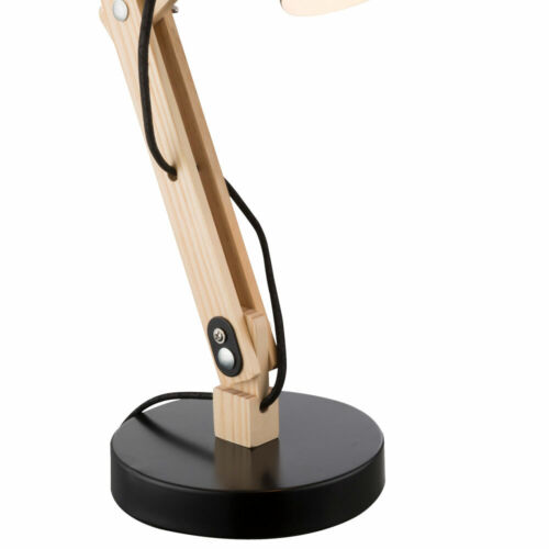 Schreib Tisch Lampe Holz Hell Metall Schwarz Leuchte Spot Beweglich Beleuchtung