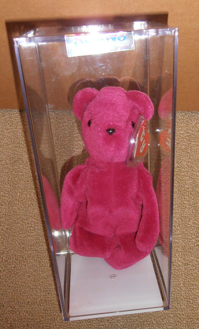 RARE MWMT MQ  Authenticated TY TY TY 2nd gen OLD FACE MAGENTA TEDDY Beanie Baby 9a2579