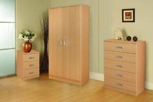 Stylish-Oak-Trio-Set-Wardrobe-Chest-of-Drawers-and-Bedside-three-drawer