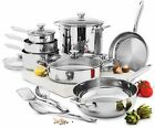 Wolfgang Puck Cooking 15-Pc stainless steel Cookware Set Pans Pots Glass Lids