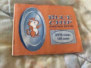 Vintage-Blue-Chip-Timbre-livret-d-039-epargne-pleine-de-timbres