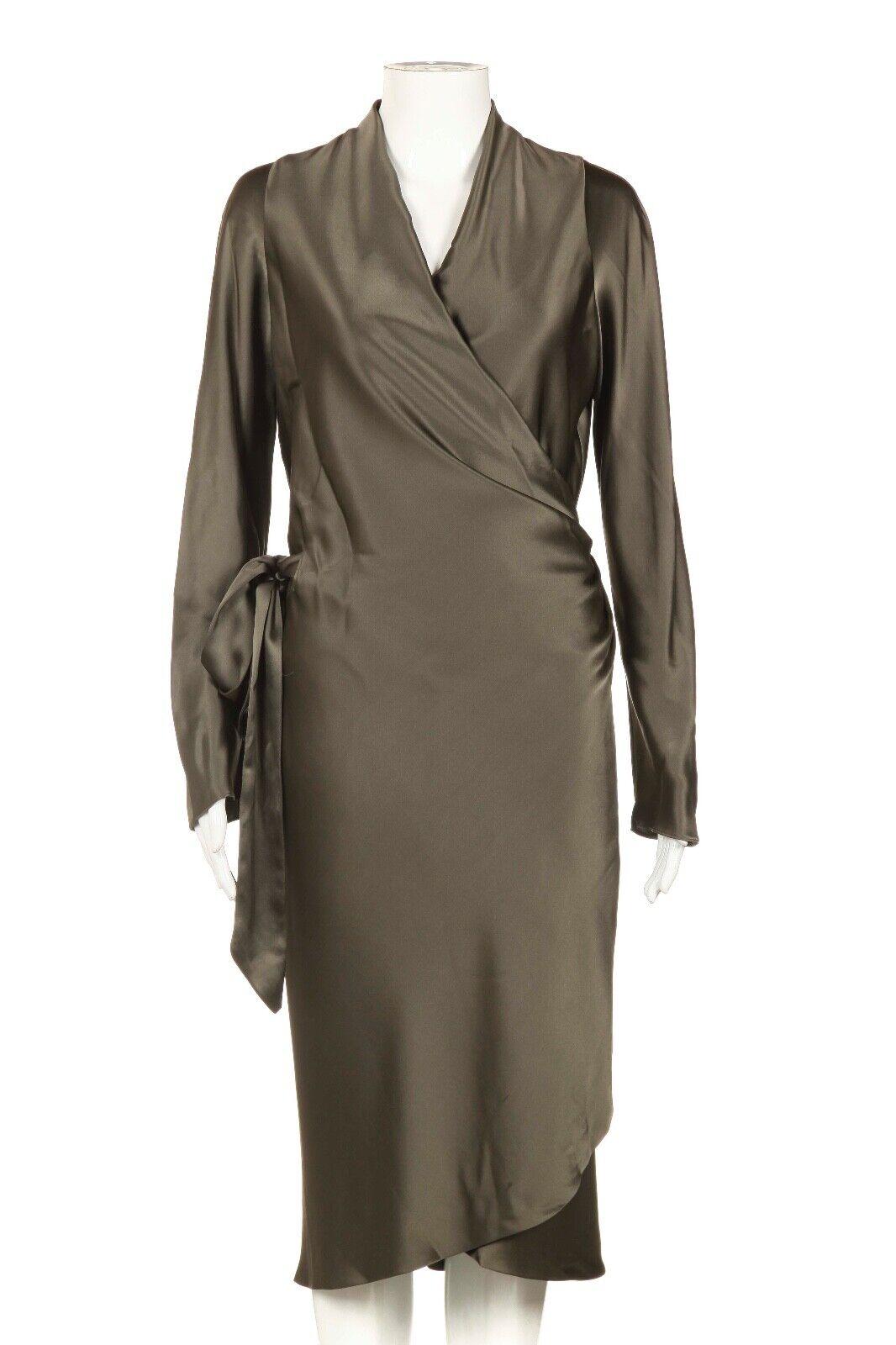 NWT PETER COHEN 100% Silk kortstop Wrat Dress Medium grön Satin Long Sleve