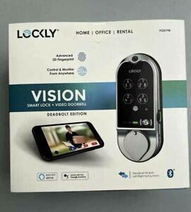 ✳️ NEW! LOCKLY Vision Satin Nickel Deadbolt w/ Video Doorbell Smart Lock PGD798