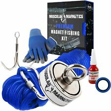 1225lb Double Sided Fishing Magnet Bundle Pack Include 6mm 100ft High Nylon Rope