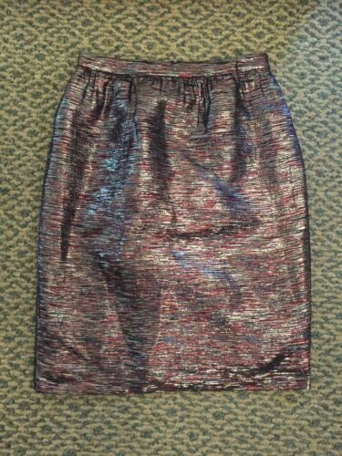 J Crew Metallic Skirt 8 Woven Tweed Red White Blue