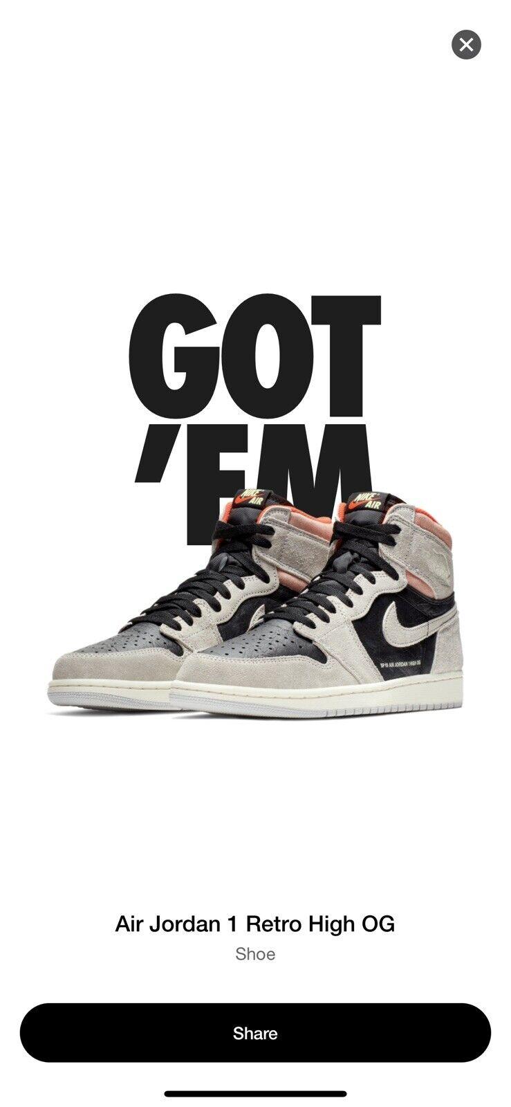 Nike Air Jordan 1 Retro High OG Black Grey UK10.5 Brand New Boxed With Receipt