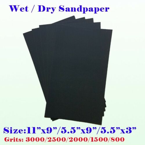 "Sandpaper 5 1//2/"" x 9/"" Combo WET OR DRY  1500 2000 2500 3000 5000 grits 5 pc."