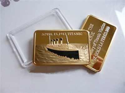 RMS TITANIC Gold Layered Bar Ingot Ship Disaster 1912 London New York City Ocean