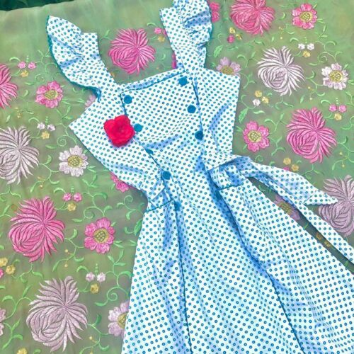 1940s-50s Pinafore Dress with Buttons & Ruffled Sh