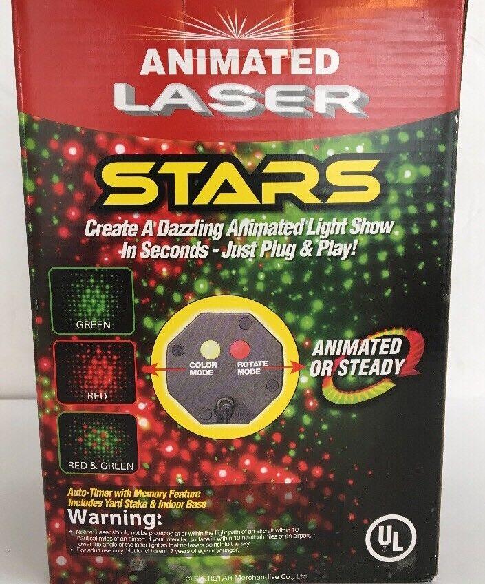 EZ Illuminations Animated 3 Farbe Laser Stars Light Show-RARE VINTAGE-SHIP N 24H