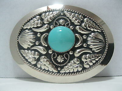 German Silver with Onyx Colored Stone Cowboy Western Belt Buckle #880